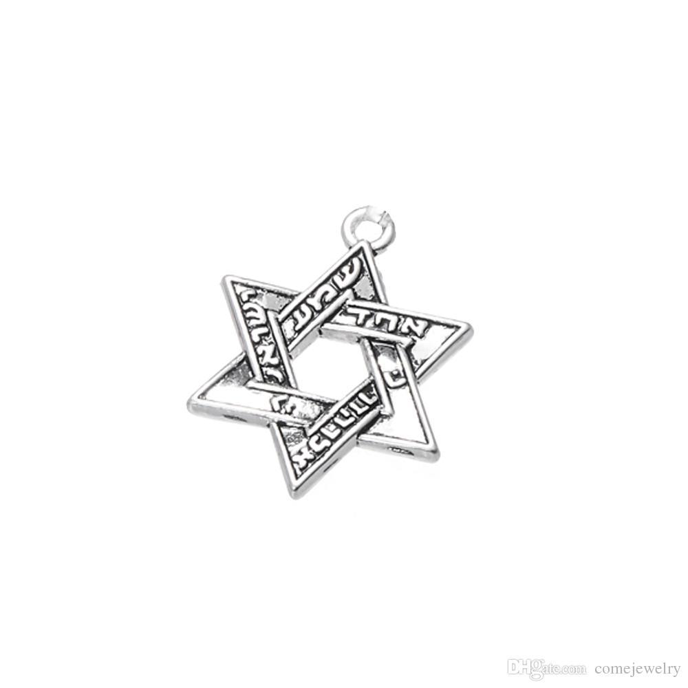Lemegeton Nickel et sans plomb Hot Fashion plaqué argent hébreu gravé étoile de David Bracelet à breloques pour bijoux cadeau