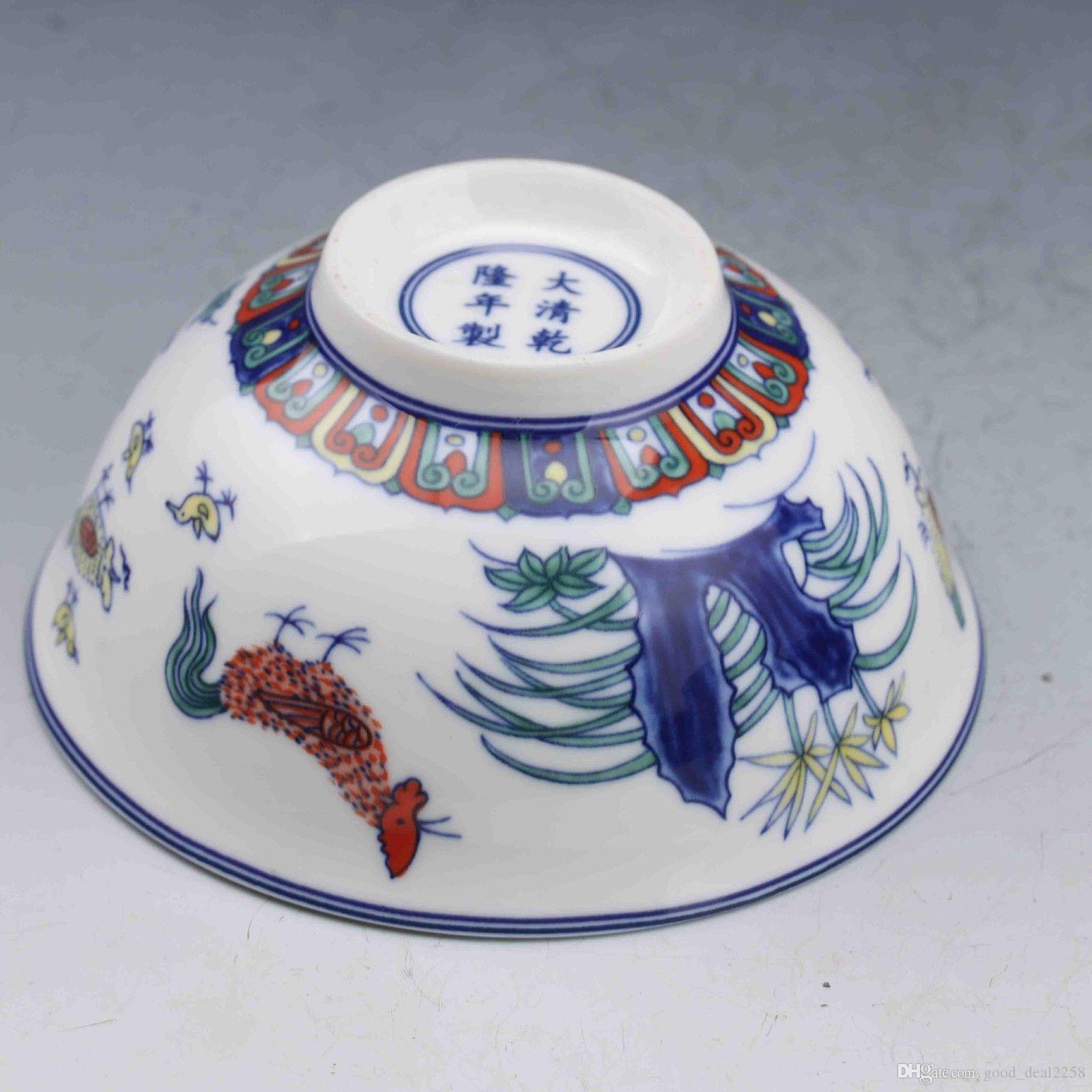Ciotola di porcellana cinese famille rose dipinta a mano modello di pollo Bowl w Qianlong Mark