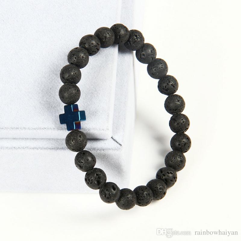 Nueva Pulsera de Diseño Al Por Mayor 10 unids / lote 8mm Mejor Calidad Lava Cuentas de Piedra con Hematites Royal Cross Pulseras de Jesús
