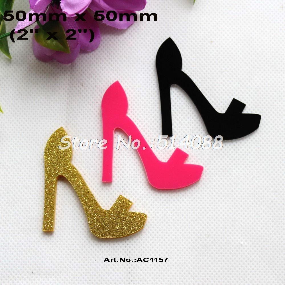 5942c13c4a Wholesale- (3colors,30pcs/lot) 50mm High Heel Shoe Acrylic Gold Glitter,  Dark Pink, Black Colors Flat Back cabochon 2