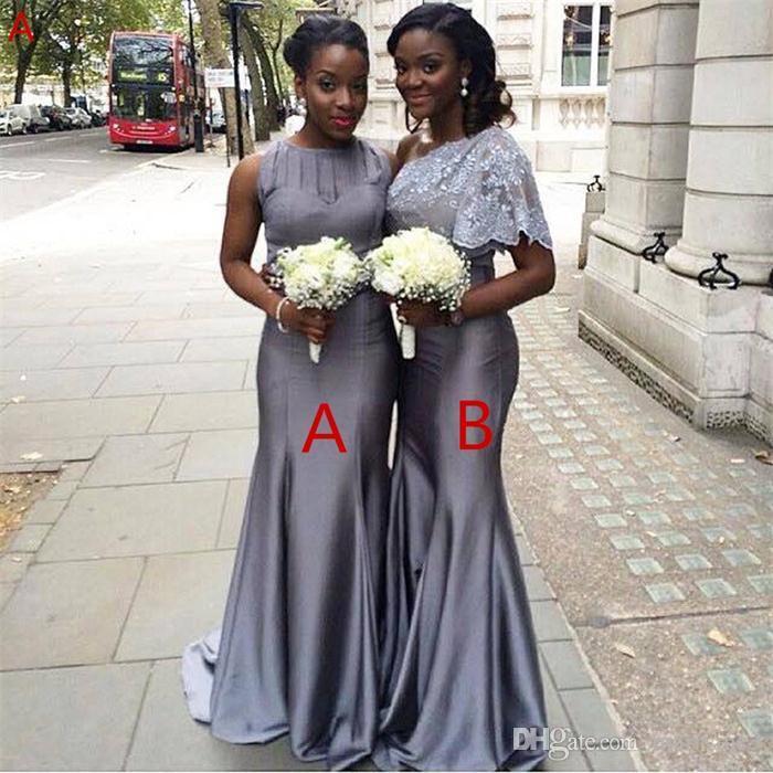 African 2017 2 Style Fashion Mermaid Nigerian Wedding Ceremony Dress Grey Maid of Honor Wedding Party Dress Bridesmaid Dresses