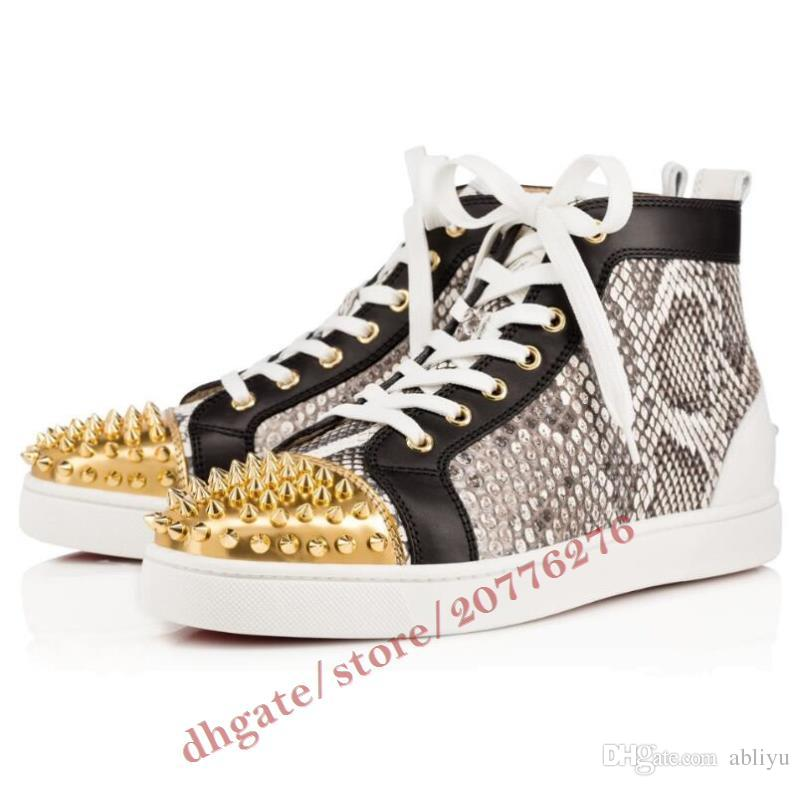 8d6daa0a59 (Original box) high quality red bottom men high top trainers snakeskin with  gold Spiked women fashion brand sneakers,unisex flat shoes