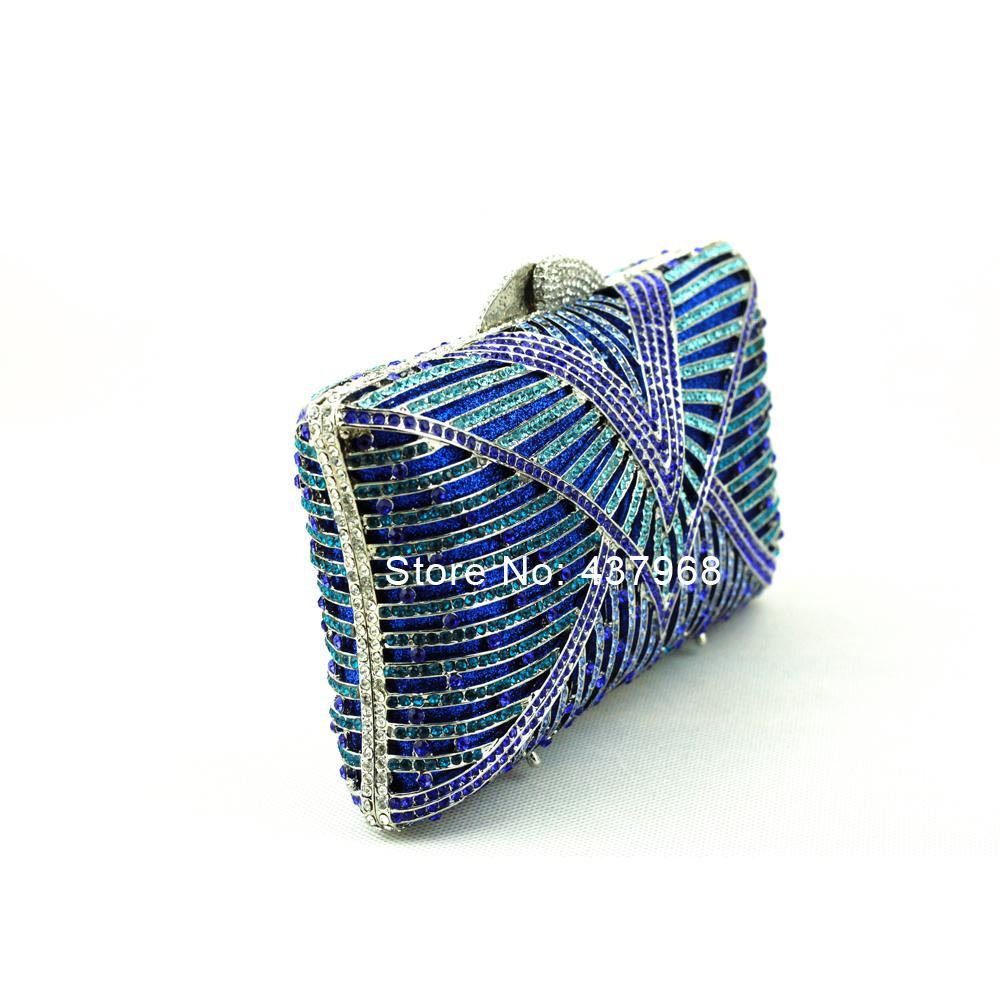 Wholesale Champagne Blue Clutch Bag Small Size Crystal Clutch Purse with Strap Embroidery Patterns Vintage Evening Bag Online