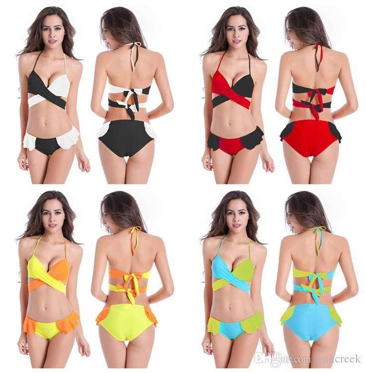Blue Patchwork bikini with bra pad and holder women swimsuit multicolor women swimwear M L XL