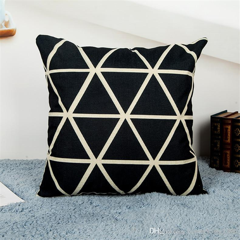 Nuevo Vintage Negro Algodón Blanco Funda de Almohada Throw Pillowcase Mountain Peak Shaped Pillow Covers 18 Estilos