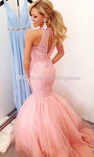 Abiti da ballo di lusso rosa sirena gioiello scollatura tulle lunghezza del pavimento perline pesanti abiti da festa di sera puffy arabo pageant abiti del partito