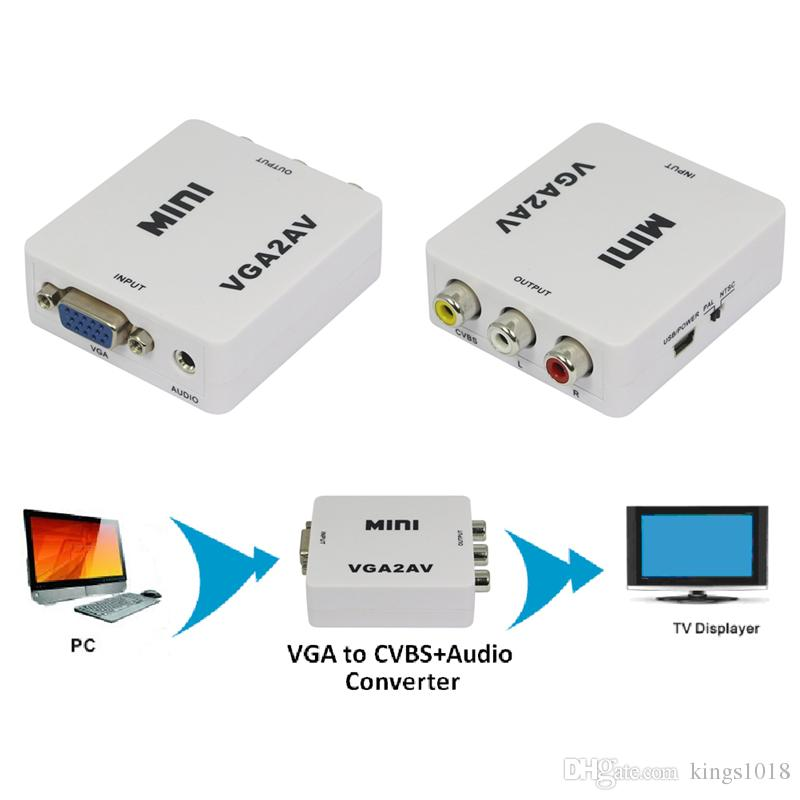Mini Composite Video AV S-Video RCA to PC Laptop VGA TV Converter Adapter Box Connector New Promotion