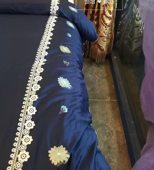 высокого класса 60 длинный штапель синий кролик мультфильм хлопок кружева вышивка наборы постельных принадлежностей 4 шт., наволочка, кровать юбка пододеяльник