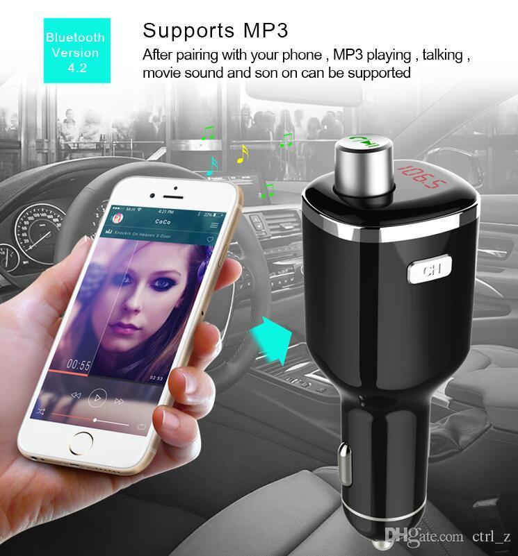 Nuevo BC23 Car Mp3 Kit FM Transmisión Mufti-function Car Charger Soporte U-disk Detección de voltaje Bluetooth Manos libres para móvil