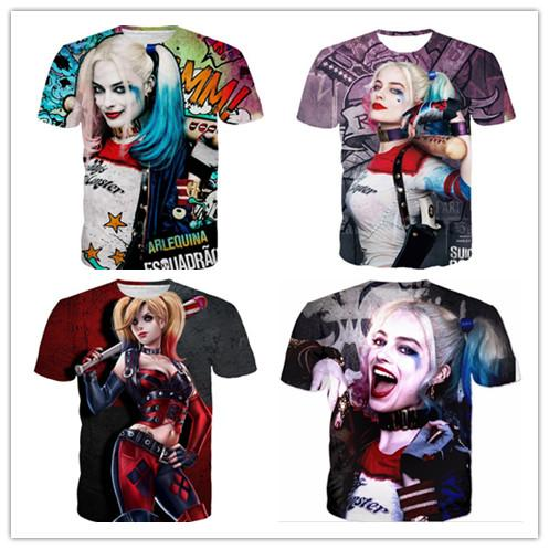 3414a2d3a766 Suicide Squad New Womens Mens Harley Quinn Joker Short Sleeves Funny 3D  Print T Shirt Summer Casual Clothes Top Tees Plus S 5XLKK64 Of T Shirts  Online Buy T ...