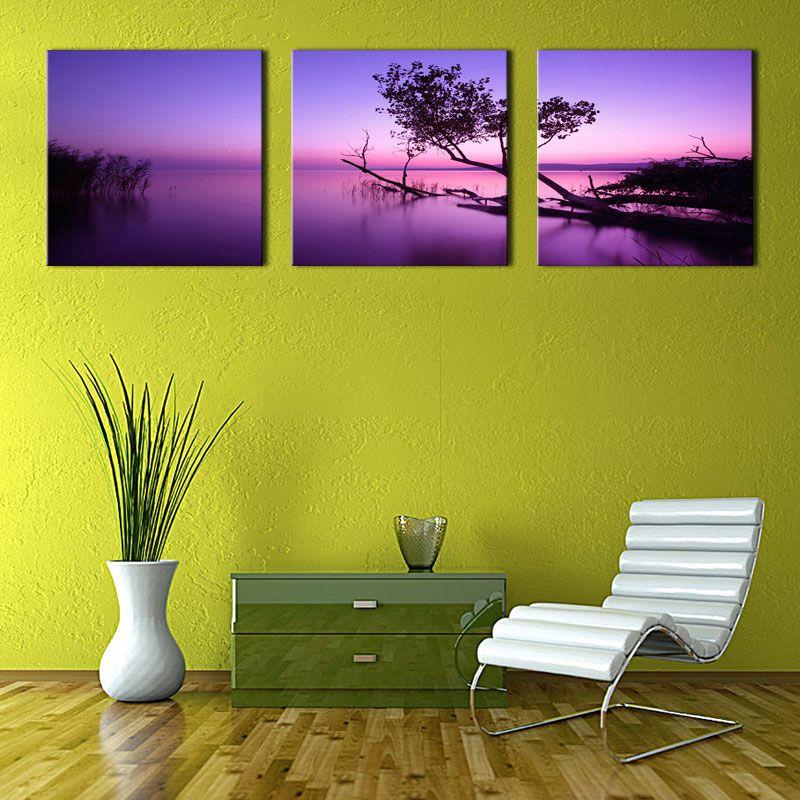 2018 3 Panels Landscape Canvas Painting Purple Wall Art Painting ...