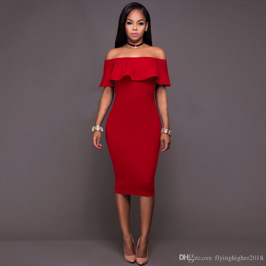 2017 Off Shoulder Dress Bodycon Boho Women Vintage Sheach Ruffle Black Red Sexy Dress Club Wear Tight Wrap Party Dresses
