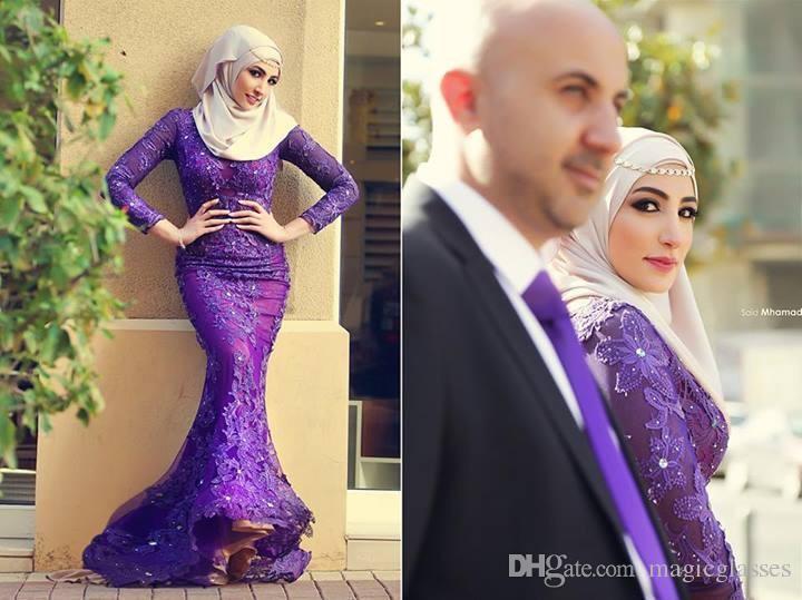 Robes de soirée arabe nouvelle sirène musulmane col haut appliques de dentelle manches longues violet Parti de fête formelle dit Mhamad robes plus la taille