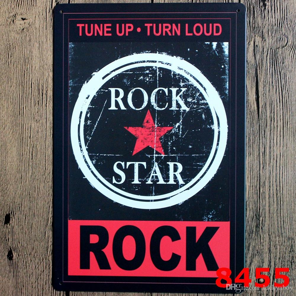 Rock Music Warning DANGER Prompt Slogan Metal Poster Wall Decor Bar Home Vintage Craft Gift Art Iron painting Tin PosterMixed designs