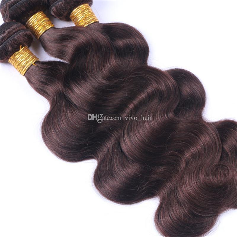 Indian Virgin Human Hair Weaves Dark Brown 2# Body Wave Hair Bundles Chocolate Brown Human Hair Extensions Dhl Free