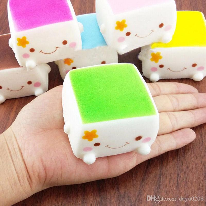 New Tofu Slow Rising Squishy Soft Bean Curd Scented Squishies Charms Kids Toys Random toy soft hand pillow Chain Phone