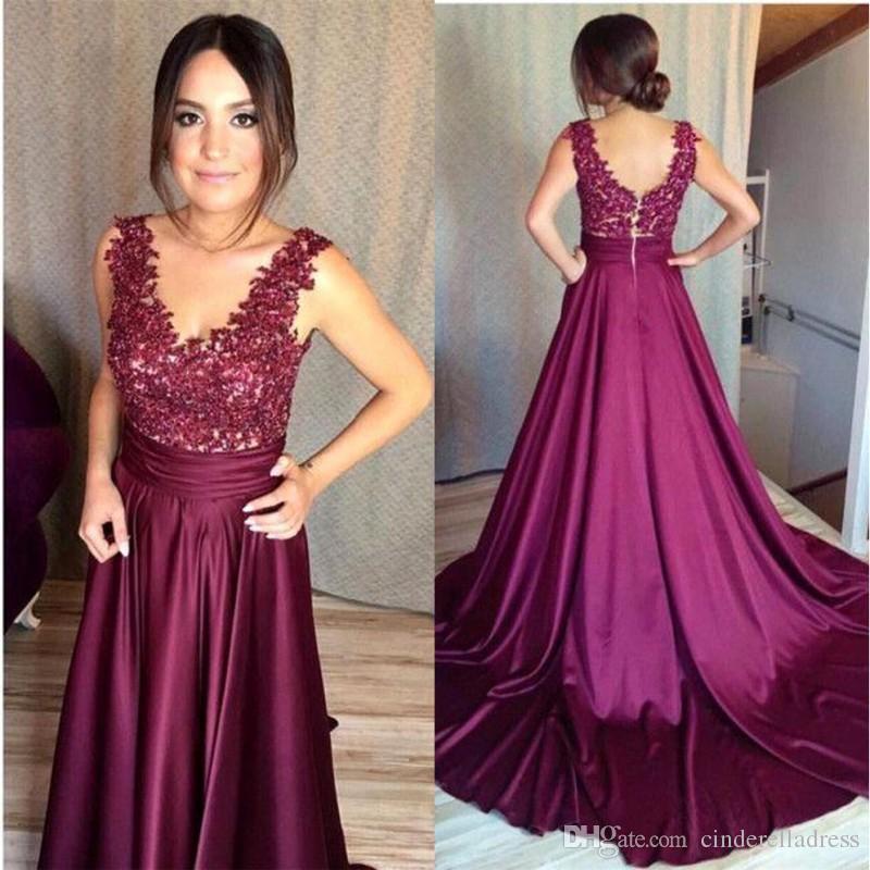 2018 New Plum Design Prom Dresses V Neck Sleeveless A Line Backless