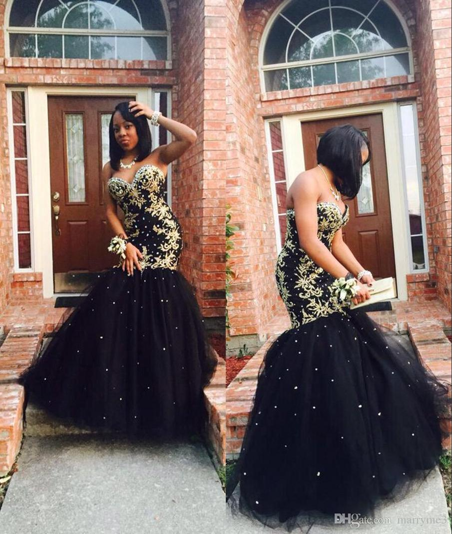 Sexy Black and gold prom dresses 2017 mermaid long sparkly appliques beaded prom dresses black girl formal evening party dress
