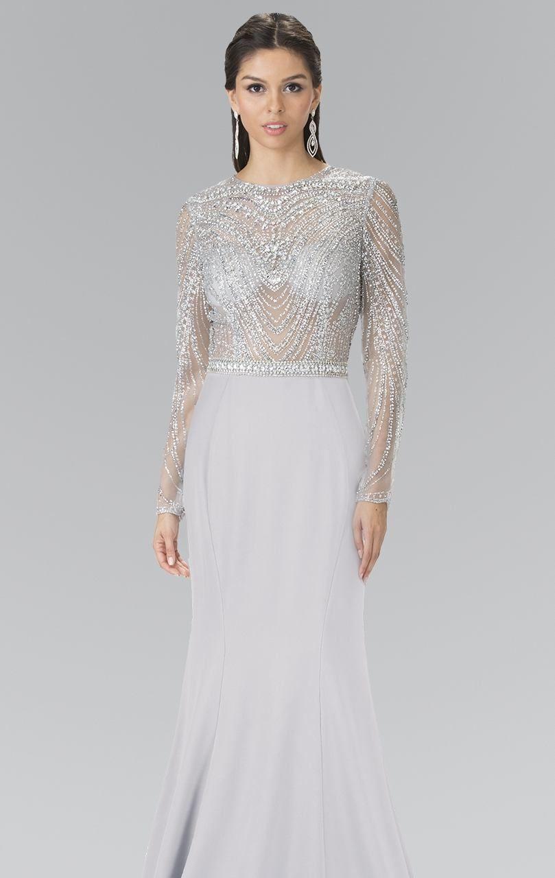 2017 Custom Made Sliver Crystal Bead Full Long Sleeve Prom Dresses Beaded Elastic Satin Special Occasion Dresses