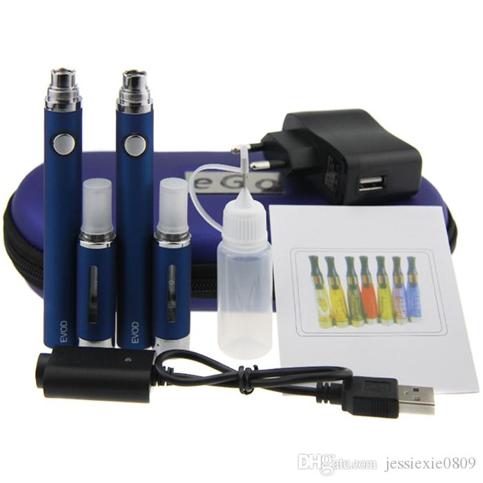 Duplo MT3 EVOD Starter Kit 2 EVOD Bateria 2 MT3 Atomizer cigarro E kit EVOD MT3 caso zipper