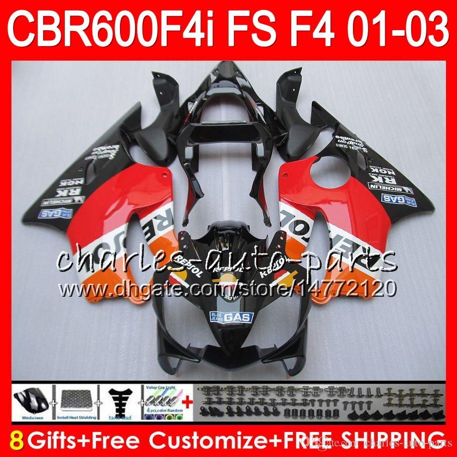 8ギフト23カロールfor Honda CBR 600 F4I 01-03 CBR600FS FS 28HM5 REPSOLオレンジCBR600 F4I 2001 2002 2003 CBR 600F4I CBR600F4I 01 02 03フェアリング