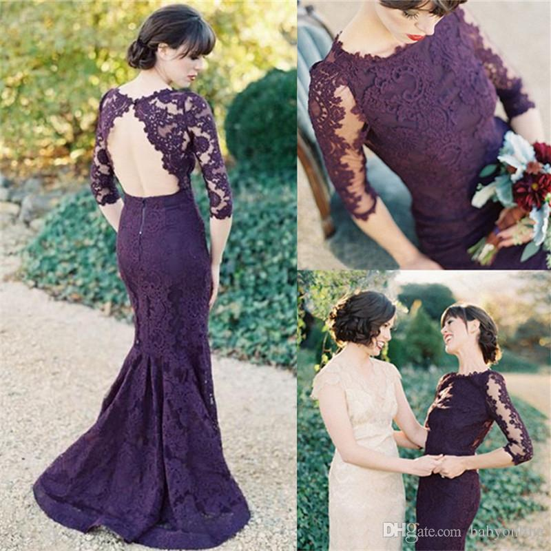 Modest Illusion Half Sleeves Open Back Grape Lace Evening Dresses 2017 Elegant Mermaid Prom Party Dresses Bridesmaid Dresses