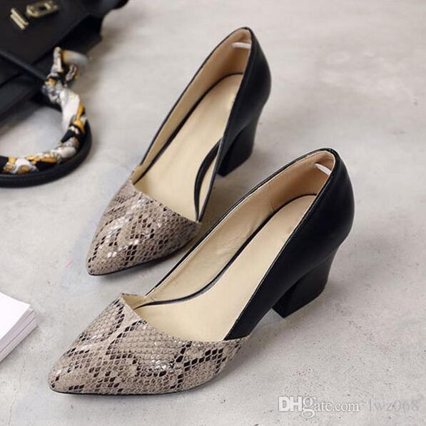Serpentine High Heels Sexy Patchwork Elegant Pumps Low Heels Platform Women Casual Shoes Slip On Shoes