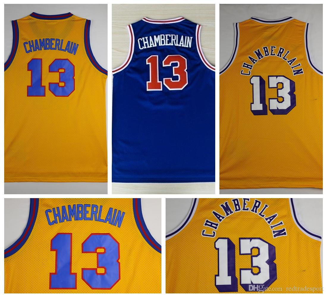 ... Blue Purple 2017 Throwback Wilt Chamberlain Basketball Jerseys Retro  Yellow 13 Wilt Chamberlain Stitched Shirts Basketball Jersey Vintage ... 259595adb