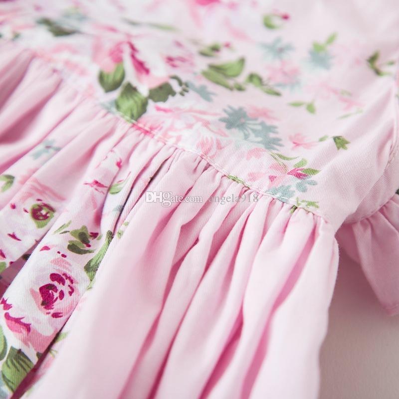Новый новорожденных девочек печати пляж платье летние дети цветы печати платье Детская одежда 2 цвета C2261