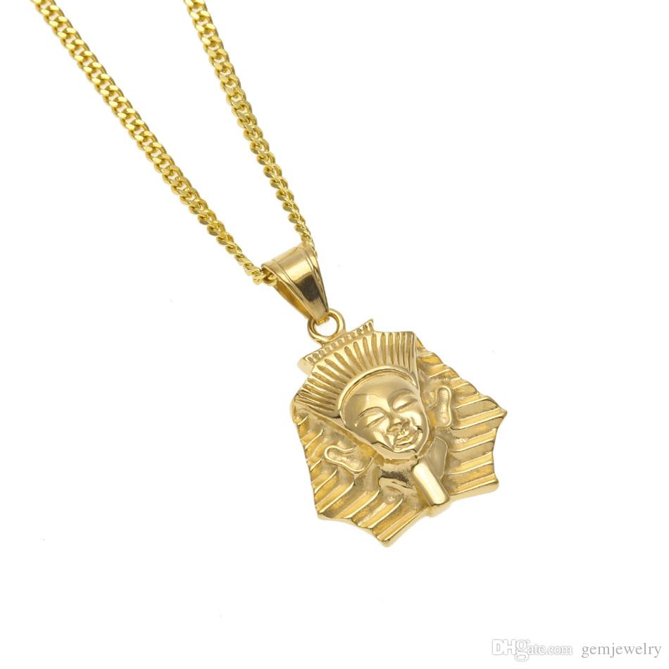 Men Women Stainless Steel Egyptian Pharaoh Pendant Gold Color Hip Hop Style Titanium Egypt King Necklace Chain Punk Jewelry