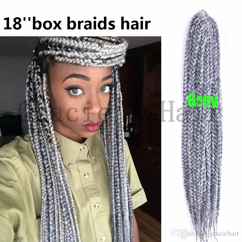 Grey Color Synthetic Hair Extensions Box Braids Crochet Braids Hair
