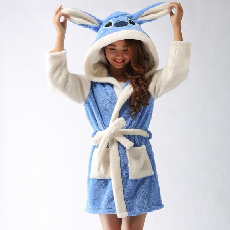 Wholesale- New Plush Robe Adult Animal Blue Stitch Pajamas Long ... 260877591