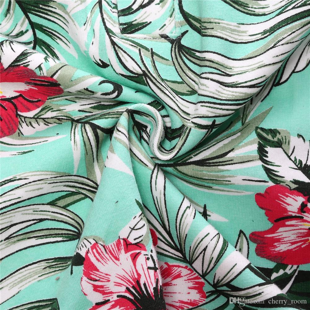 Été Garçons Vêtements Ensembles Nouveau Floral Tenues pour Enfants imprimé à manches courtes chemise + shorts de trou + PU ceinture Ensembles Enfants Vêtements C1450