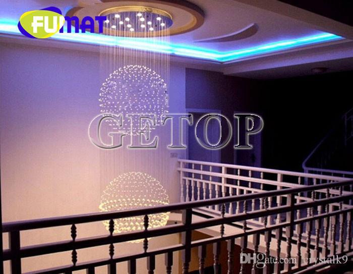 Luz de techo circular cristalina de lujo grande de FUMAT para la escalera de Pasillo del piso del ático de la ingeniería del hotel con los bulbos del LED