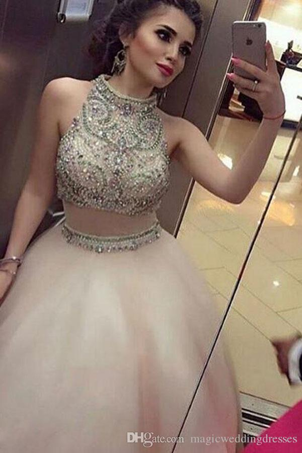 Two Piece Prom Dresses High Neck Beaded Collar A Line Sleeveless 2017 Pageant Evening Gowns College Homecoming Party Queen Dress Sexy
