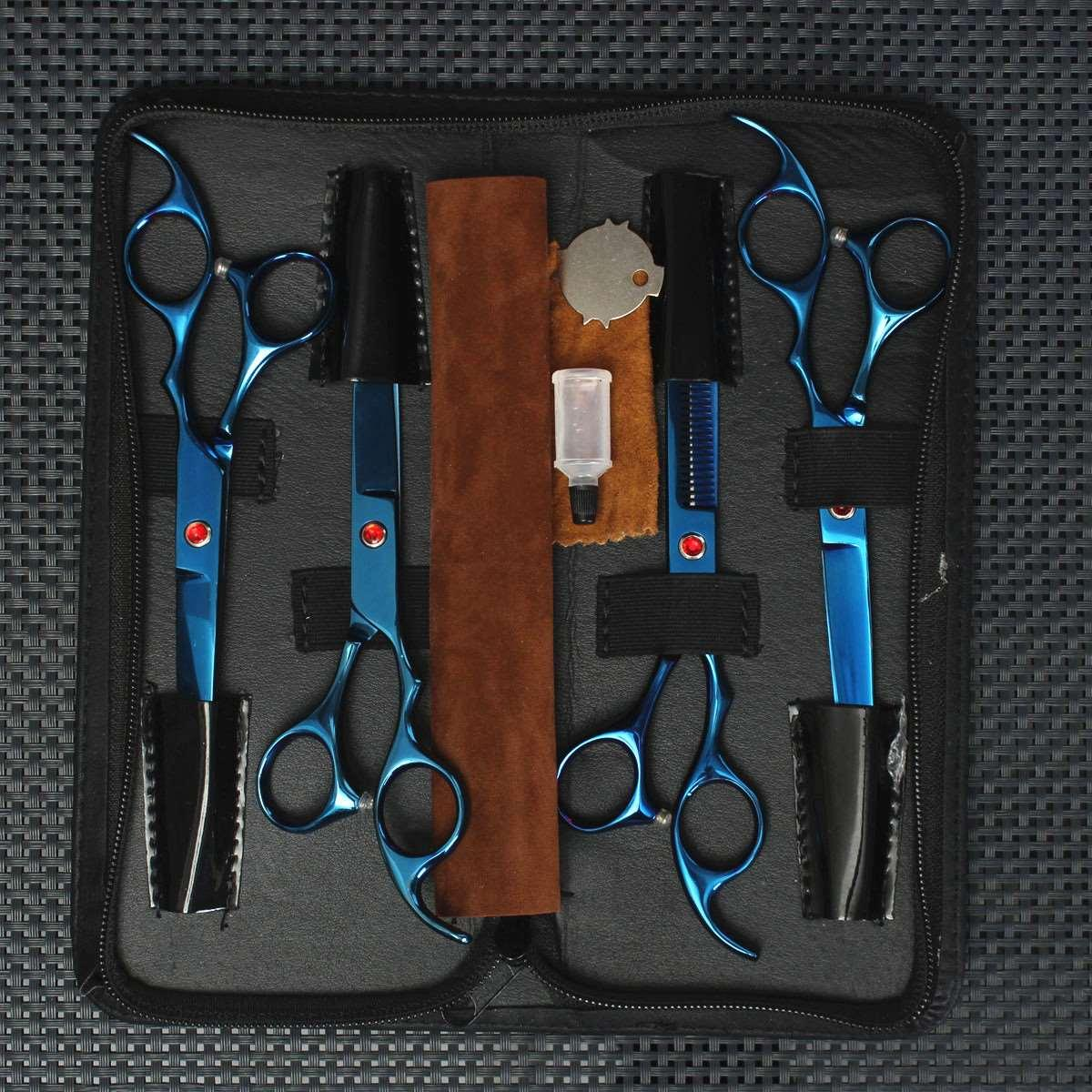 Wholesale Pro New Pet Grooming Scissors Set Cutting Thinning Curved