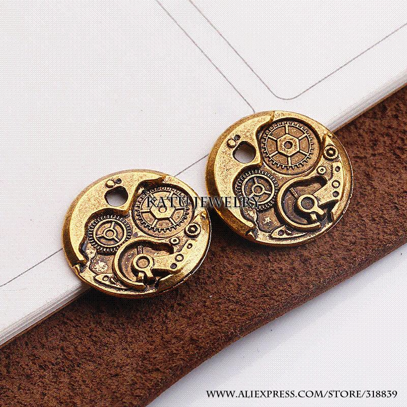 Wholesale Steampunk Watches Clock Gears Charms For Jewelry Making Diy Handmade Vintage Pendant 24mm C7368 Diamond Love Necklace