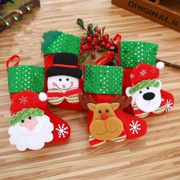 Christmas Gift Sock Mini Socks Sequins Scene Decorations Candy Bags ...