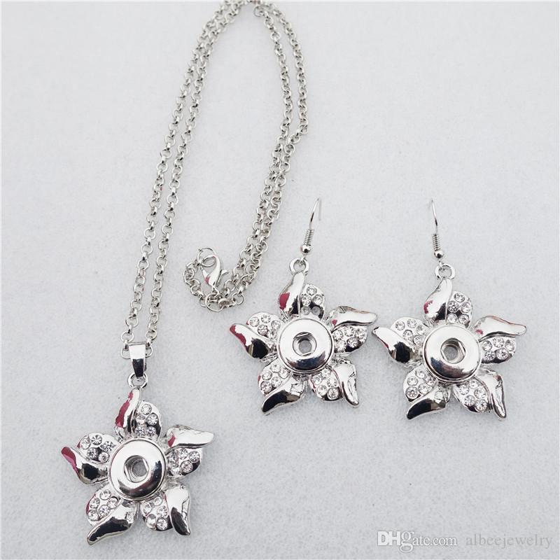 2 Renkler Mix Noosa Topakları Moda Rhinestone Bauhinia Çiçek Metal Zencefil 12mm Yapış Düğmeler Kolye Küpe Takı Seti Toptan