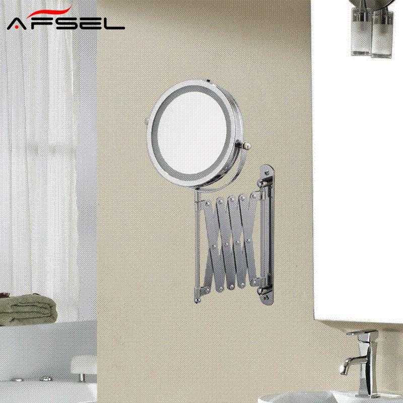 Afsel 7 inch makeup mirrors led wall mounted extending folding afsel 7 inch makeup mirrors led wall mounted extending folding double side led light mirror 5x magnification bath toilet mirror vanity mirror with lights aloadofball Images