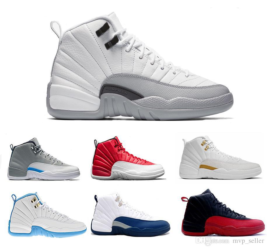 d84f684c65cb Hot New 12 12s XII Mens Womens Basketball Shoes Ovo White GS Barons TAXI Flu  Game Playoffs Flint Grey French Blue Sneakers Womens Basketball Shoes  Sneakers ...