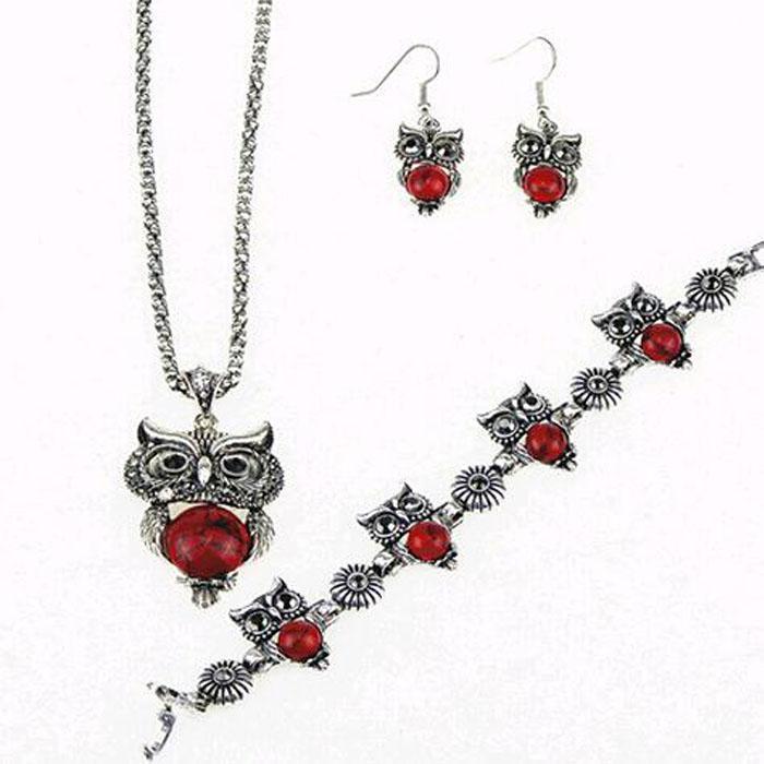 Vintage antiguo plata roja búho joyería conjunto collar colgante pendiente pendiente barrettes para las mujeres moda fiesta joyería conjuntos gratis