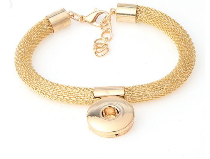 10 pz Hot Mesh oro argento placcato unisex fai da te noosa lega braccialetto pulsante gioielli snap pulsante braccialetto braccialetto misura 18mm fascino goccia di trasporto