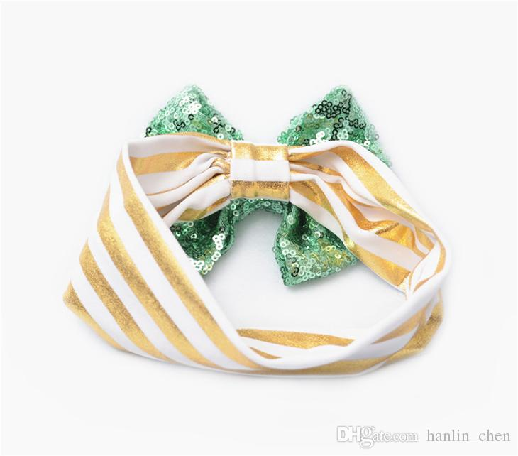 2018 Top Fashion Zl Lace New Children's Sequins Hair Elastic Accessories Cute Baby Big Bow Ornaments Light Stripe Bands Zl338