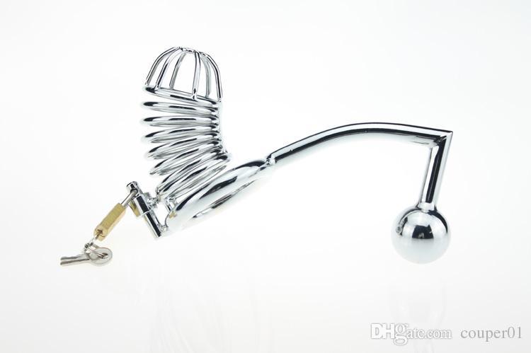 FRETE GRÁTIS!! Dispositivos de castidade masculino galo gaiola + gancho anal com bola cinto de castidade de metal galo bloqueio bdsm escravidão