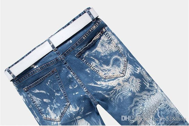 Yüksek Kaliteli Eğlence Pantolon Baskılı Kişi Ejderha Desen Erkek Kişilik Erkekler için Yarım Şort Moda Baskı Kot Şort