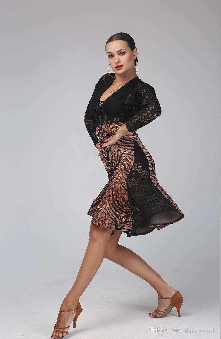Dantel dans elbise kadın tango elbise kadın baskı Ekleme salsa rumba kostümleri leopar rekabet kostüm seksi samba dans elbise fringe