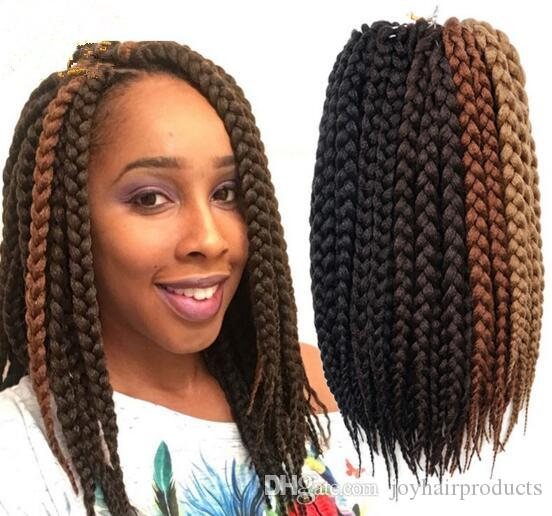 Free Shipping Box Braids Hair Crochet 12'' Crochet Hair Extensions Synthetic Crochet Braid Senegalese Twist Braid Hair Jumbo Hairstyles
