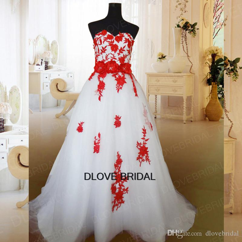 2e36796b62c Vestios De Novia Real Photo Stylish White Tulle Ball Gown Wedding Dress  With Red Lace Applique Strapless Bridal Gown Flower Bow Belt Sash  Alternative ...