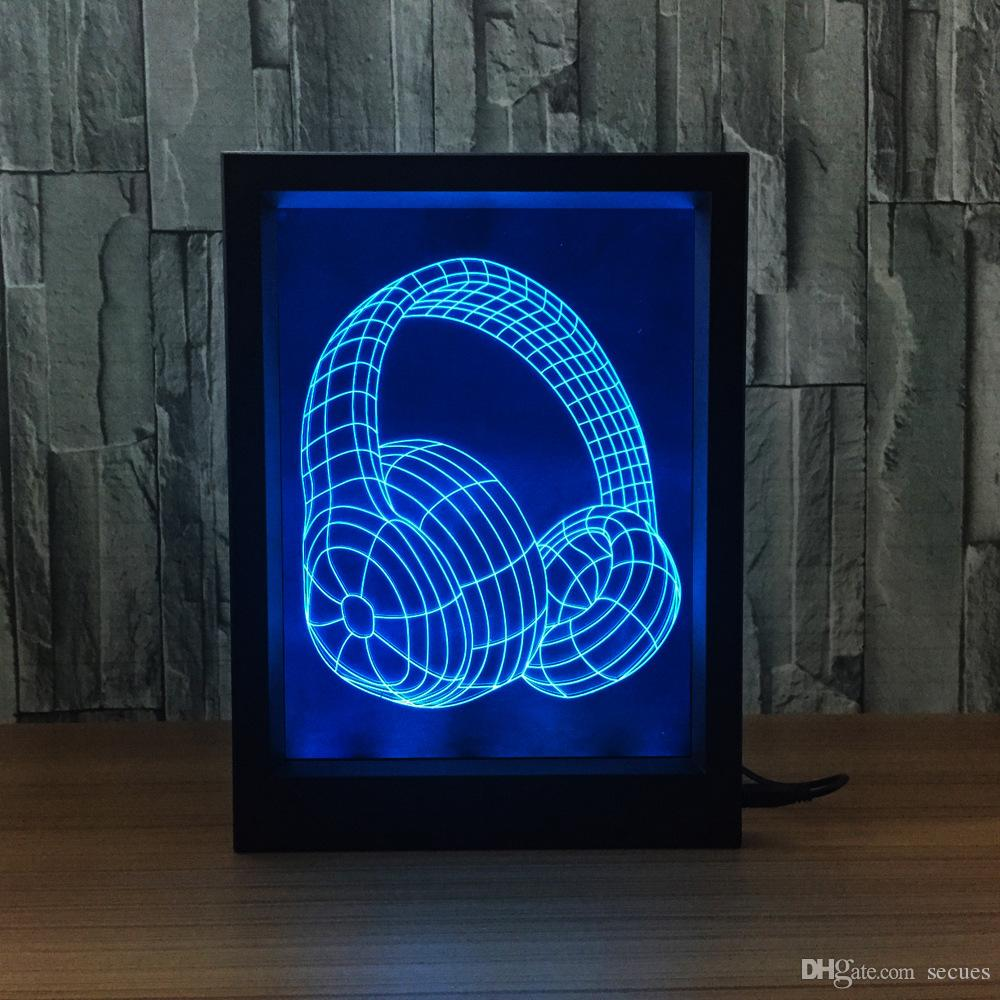 3D Earphone LED Photo Frame IR Remote 7 RGB Lights Battery or DC 5V Factory Wholesale Dropship
